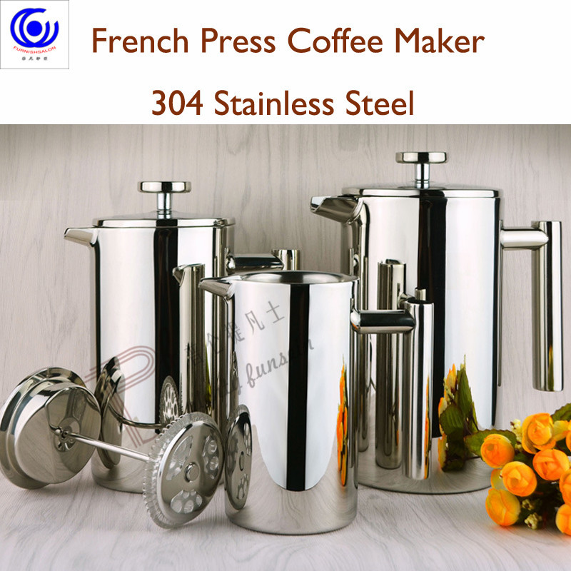 new Stainless steel French presses Coffee maker Brewing tea pot European style portable Double wall coffeepot 350ml 800ml 1000ml in Coffeeware Sets from Home Garden