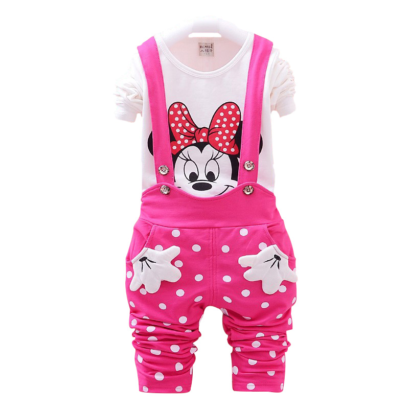 2017 New Autumn Baby Girls Clothes Set Minnie Toddler Girl Clothing Set Long Sleeve T shirt + Overalls Kids Girl Clothes Autumn humor bear baby girl clothes new spring and autumn long sleeve t shirt pink princess dress kids clothes girls clothing