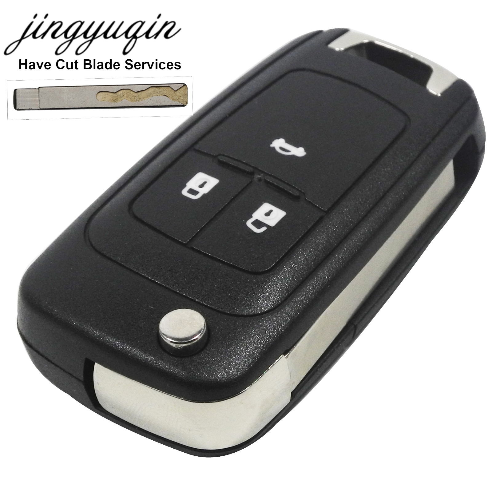 jingyuqin Flip CNC Copy Cut Blade Key Shell for Chevrolet Cruze Remote Key Case Keyless Fob 3 Button Include Cutting Blade 8055i cnc 8055i a m fagor key button membrane for cnc system fast shipping