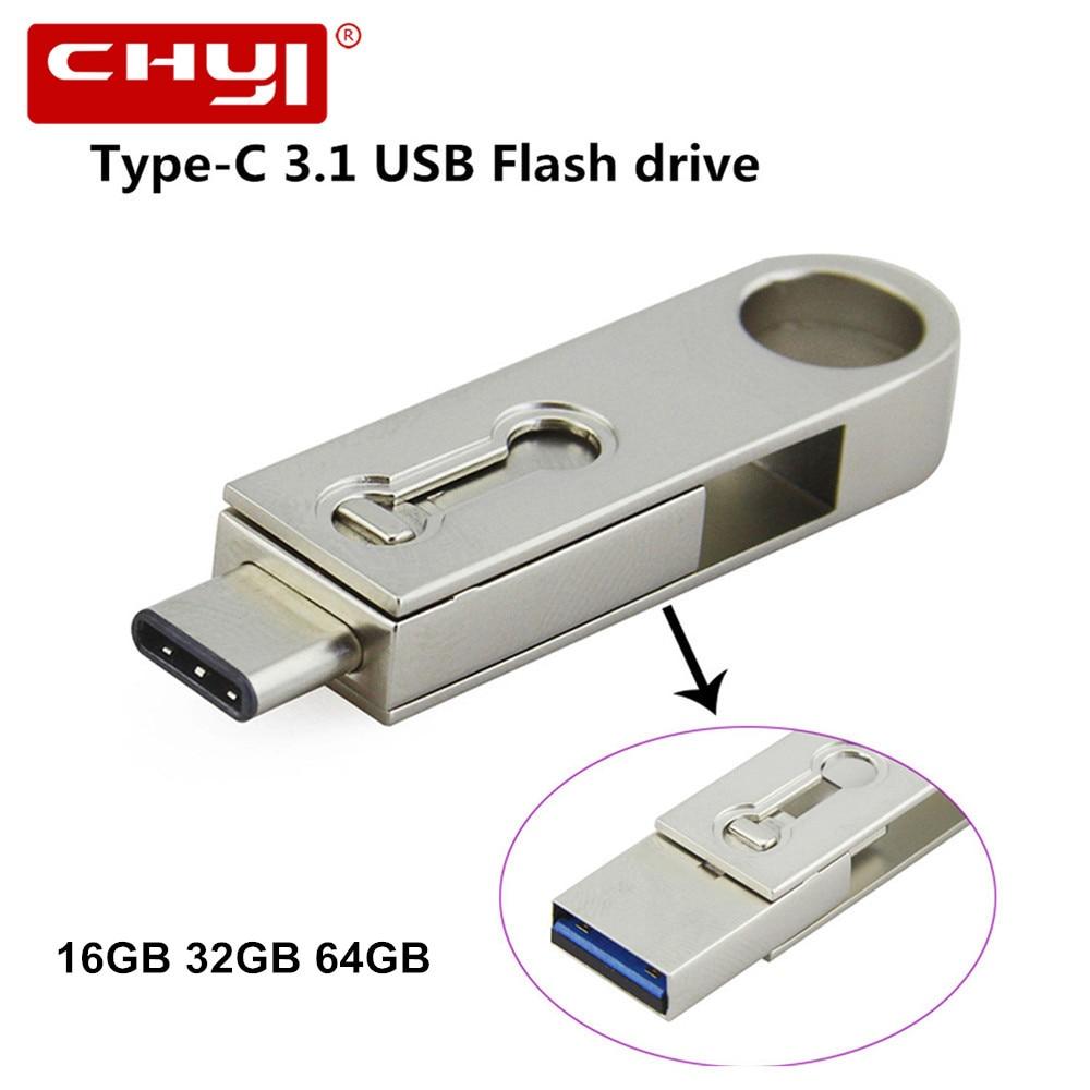 Type-C OTG USB 3.0 Flash Drive 32GB 16GB Waterproof Pen Drive 64GB Smart Phone USB Stick Metal Type C 3.1 USB Flash Dual Plug dm pd010 16gb double plug usb2 0 metal usb otg flash drive