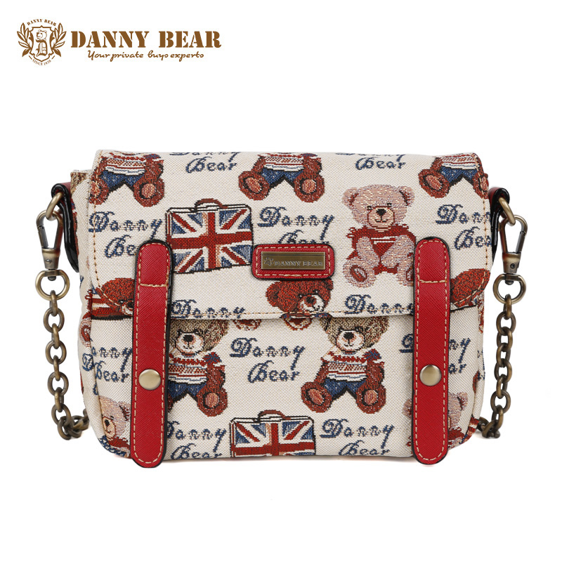 DANNY BEAR Women Quilted Chain Bag Female Fashion Messenger Bag White Crossbody Bags For Teenager Girl Vintage Mini Shoulder Bag mini gray shaggy deer pvc quilted chain bag with cover real picture