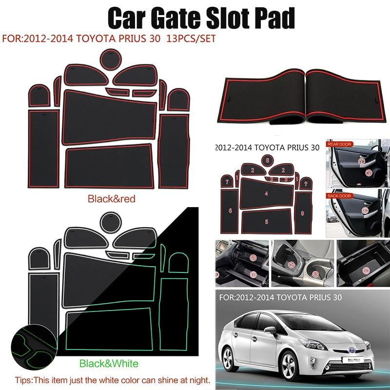 For 2012-2014 TOYOTA PRIUS 30 Gate Slot Pad Interior Door Pad/Cup Mat Non-Slip Mat 13pcs/set Car Cup Mat Stickers Car Styling