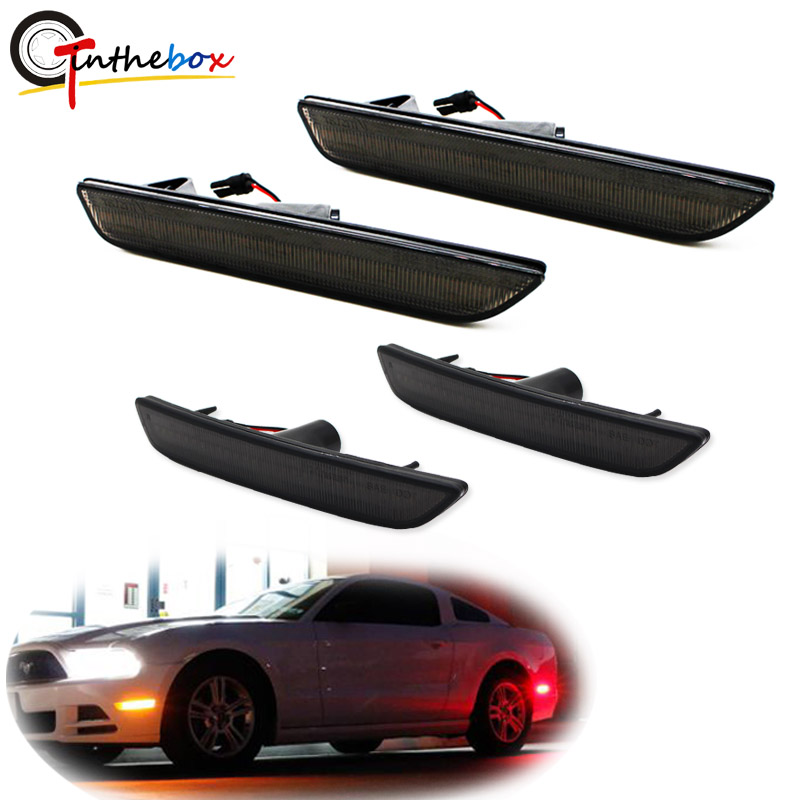 Gtinthebox Smoked Lens Front Amber Yellow Rear Red LED Front &Rear Sidemarkers For 2010-2014 Ford Mustang Front Rear Bumper 12V supra mgs 1801t