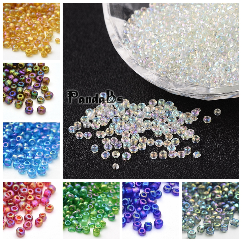50g glass seed beads size 6//0 Yellow Transparent Lustered approx 4mm
