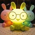НОВЫЙ Детская Комната в Очках Кролик Мультфильм Ночь Спящая Свет детская Кровать Ночника Спящая Лампы Лучшее для Подарков ЕС/US Plug