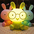 NEW Baby Room Wearing Glasses Rabbit Cartoon Night Sleeping Light Kids Bed Lamp Night Sleeping Lamp Best for Gifts EU/US Plug