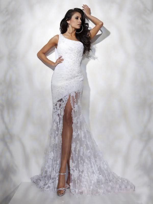 vestido de noiva 2018 one shoulder design sexy Long Bridal gown Formal Applique Pageant open leg custom Prom   bridesmaid     dresses
