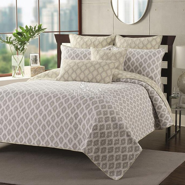 High Quality New 2016 100% Cotton Quilted Coverlet Set Queen Comforter Bedding Set Bed  Patchwork Quilt Bedspreads