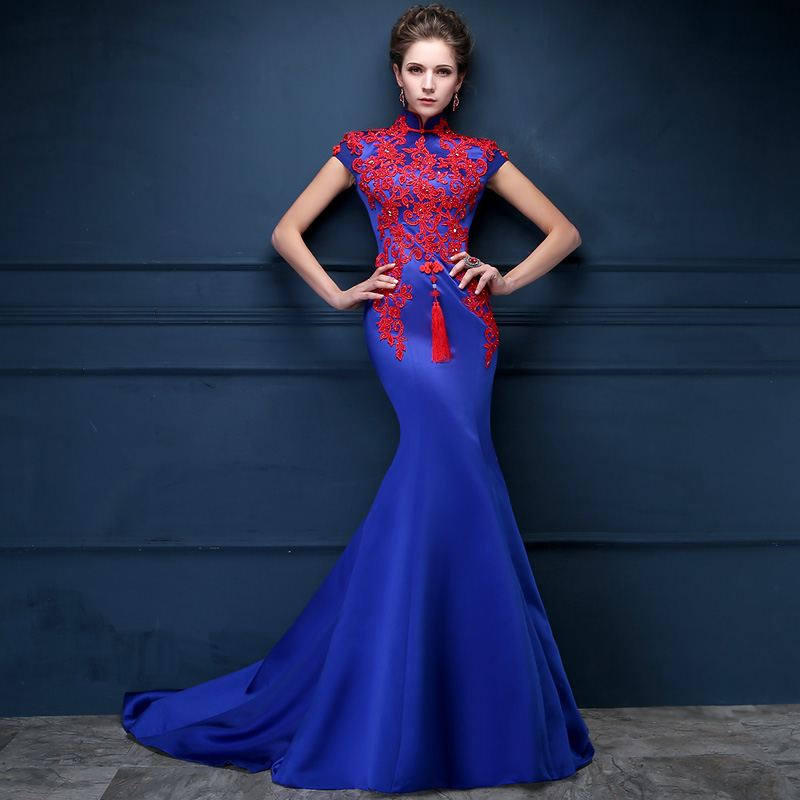 2016 Luxury Royal Blue Embroidery Tailing Evening Dress