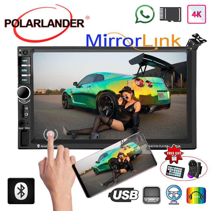 Multimedia HD Player MP5 Digital Display Mirror Link 2 Din Bluetooth 7 Inches Rear Camera Car Radio Audio Stereo Touch Screen image