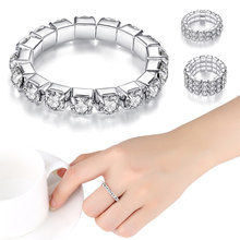 Adjustable Silver Ring High Quality New Anti Allergy Full Drill Ring Ring Classic(China)