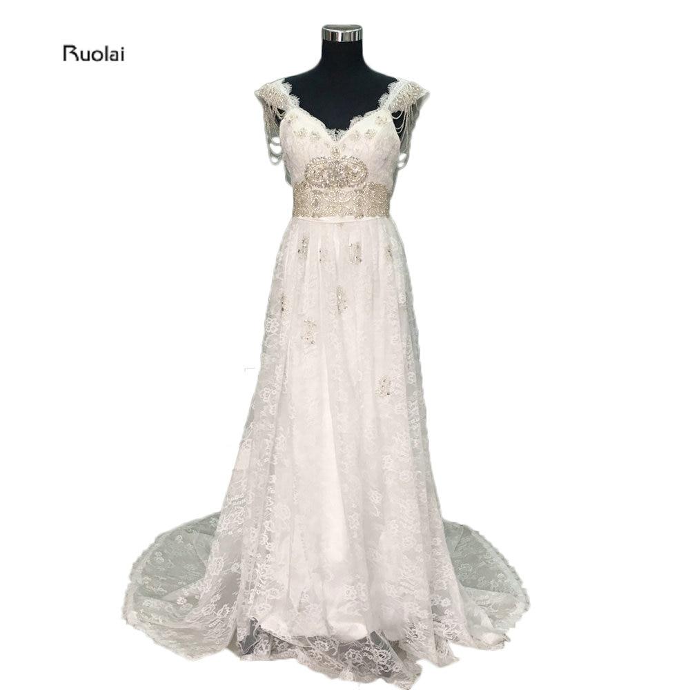 Vestido de noiva Backless Anna Sexy Wedding Dresses 2017 Bridal Gowns Cap  Lengan Vintage Wedding Gowns Pantai Boho gaun eaed3586cb
