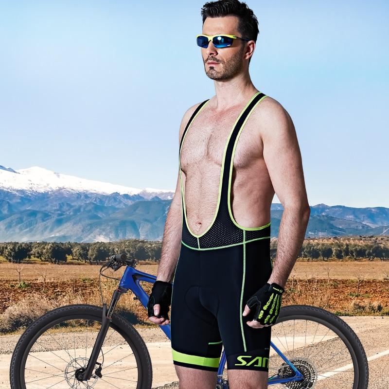 Santic Men Cycling Padded Bib Shorts Pro Fit Summer Italian Imported Fabric Cushion Pad Breathable Cycling
