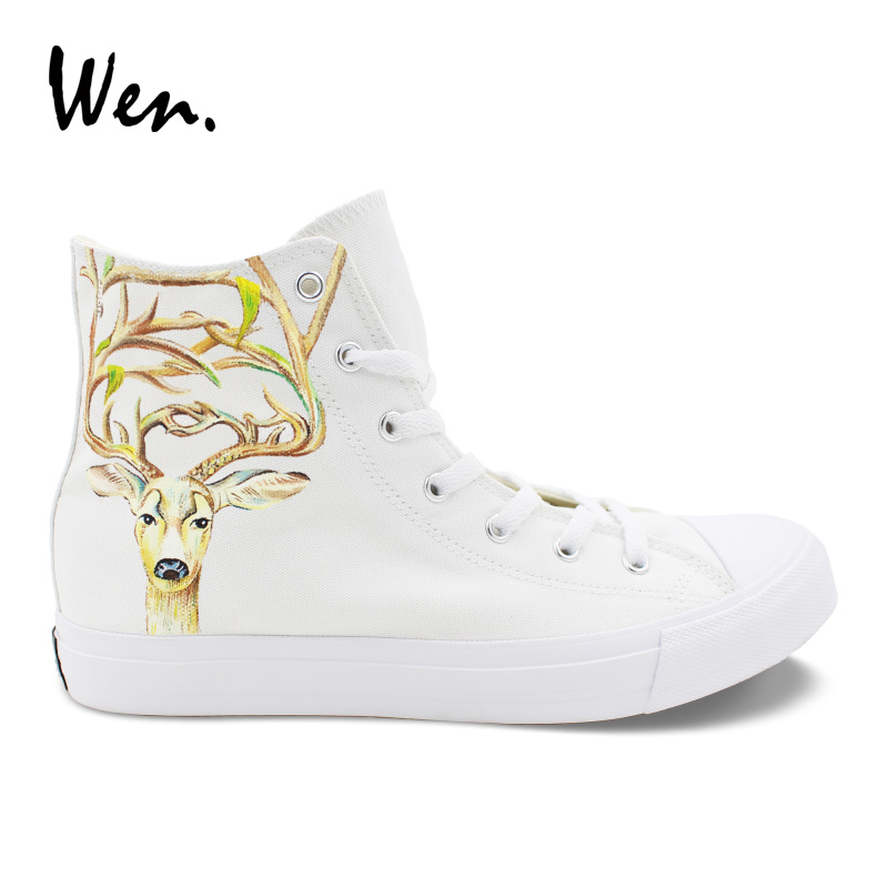 Wen Hand Painted Custom Shoes Milu Deer Animal Graffiti Canvas Sneakers High Top White Shoes Cross Straps Espadrilles Flat Laced e lov high end design women shoes hand painted dream graffiti casual canvas flat shoe low top canvas espadrilles