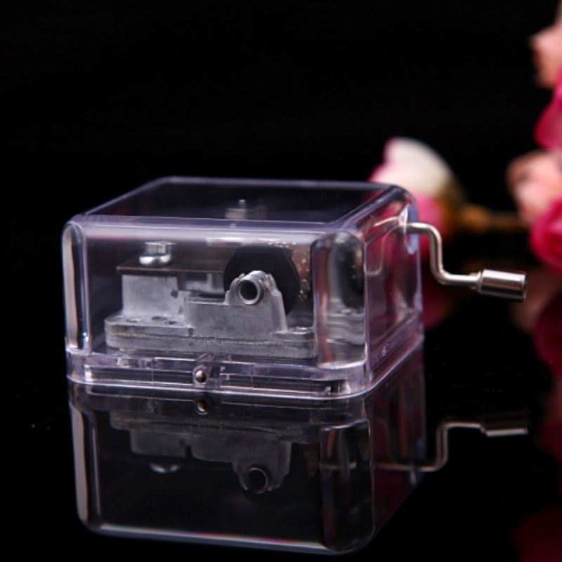 Unique Transparent Acrylic Music Box Hand Crank Musical Box with Metal Movement Many Songs Great Kids Toy Birthday Xmas Gift