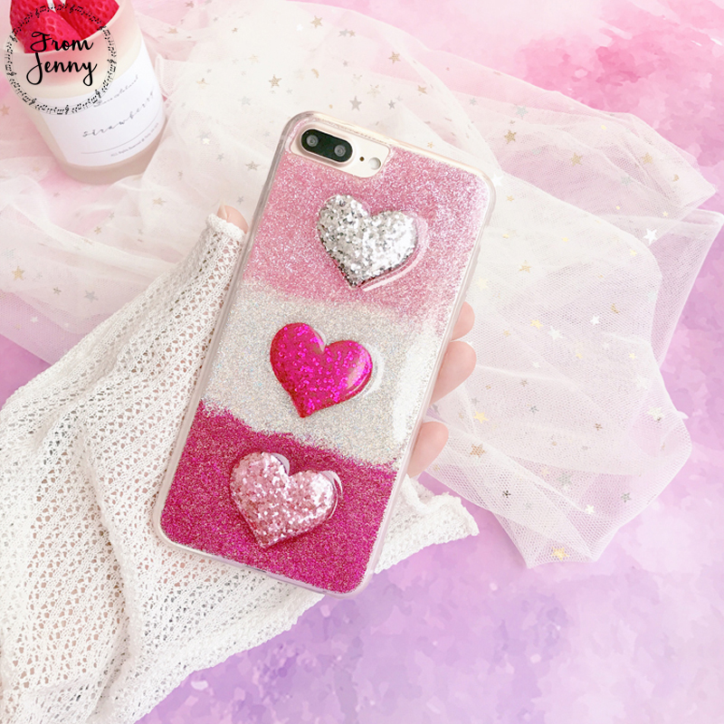 From Jenny Love Glitter For iPhone 7 Case 7plus Cover 8 8plus Funda for iPhone 6 6s 6plus 6splus Case sparkle icecream