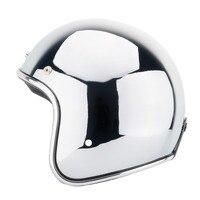 Vintage Motorcycle Helmet 3/4 Open Face Jet capacetes de motociclista Harley Sliver Chrome Vespa Chopper Scooter Cafe Racer