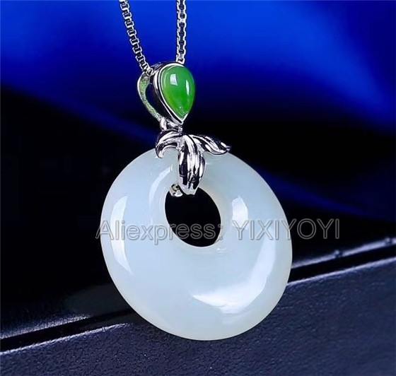925 Sterling Silver White Green HeTian Jade Round Dangle Lucky Sexy Pendant + Chain Necklace Charm Fine Jewelry Charm Gift925 Sterling Silver White Green HeTian Jade Round Dangle Lucky Sexy Pendant + Chain Necklace Charm Fine Jewelry Charm Gift
