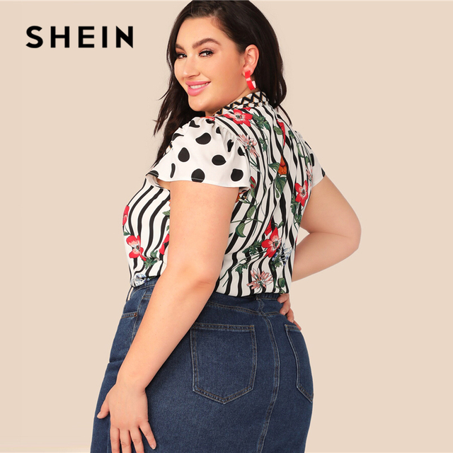 SHEIN Plus Size Multicolor Tie Neck Mixed Floral Print Top Blouse Women Summer Elegant Cap Sleeve Stand Collar Striped Blouses 2