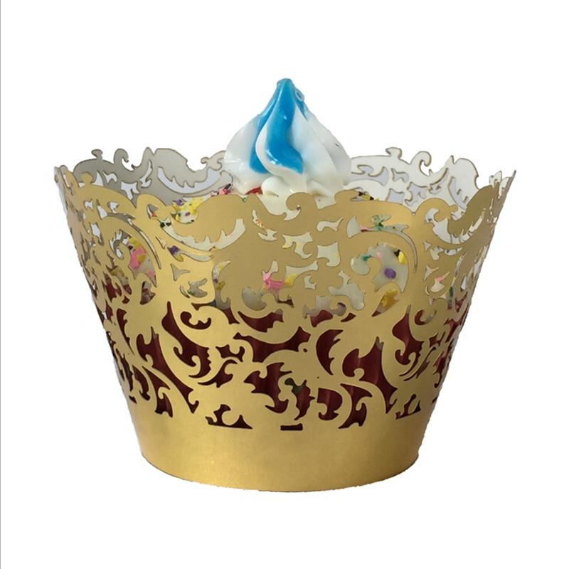 Gold Wedding Hot Sell Hollow Lace Laser Cut <font><b>Cupcake</b></font> Wrapper Liner Baking <font><b>Cup</b></font> Wedding Birthday Tea <font><b>Party</b></font> Home Decoration Tools