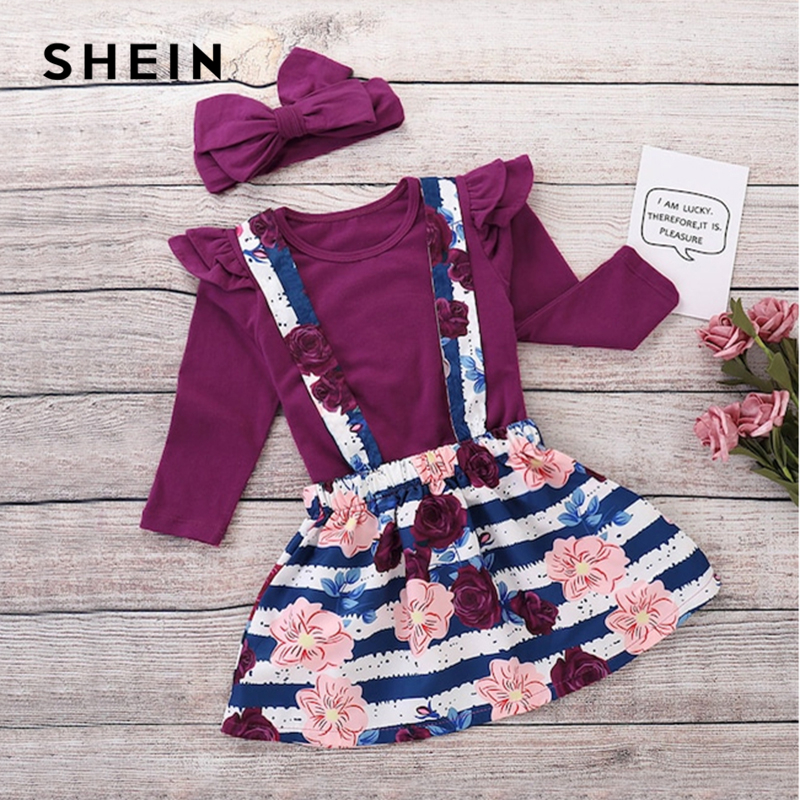 SHEIN Kiddie Toddler Girls Frill Trim Tee And Pinafore Skirt And Headband Girl Set 2019 Spring Long Sleeve Cute Kids Clothes frill trim bow tie front pants