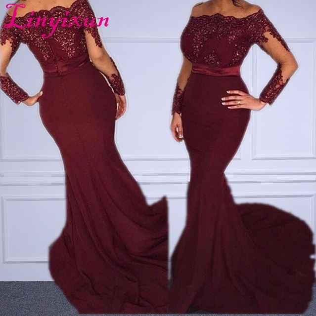 3f4d691c402 African Mermaid Evening Gowns Burgundy Off Shoulder Sequins Sash Long  Sleeves Prom Dress 2018 Dubai Arabic Party Gowns