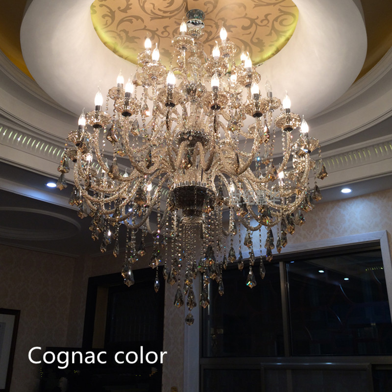 Church 3-layer High Ceiling Led Chandelier Crystal Lighting Lampadari E14 28-35 Pcs Cognac Amber Crystal Lamp Hotel Lobby Lustre Chandeliers