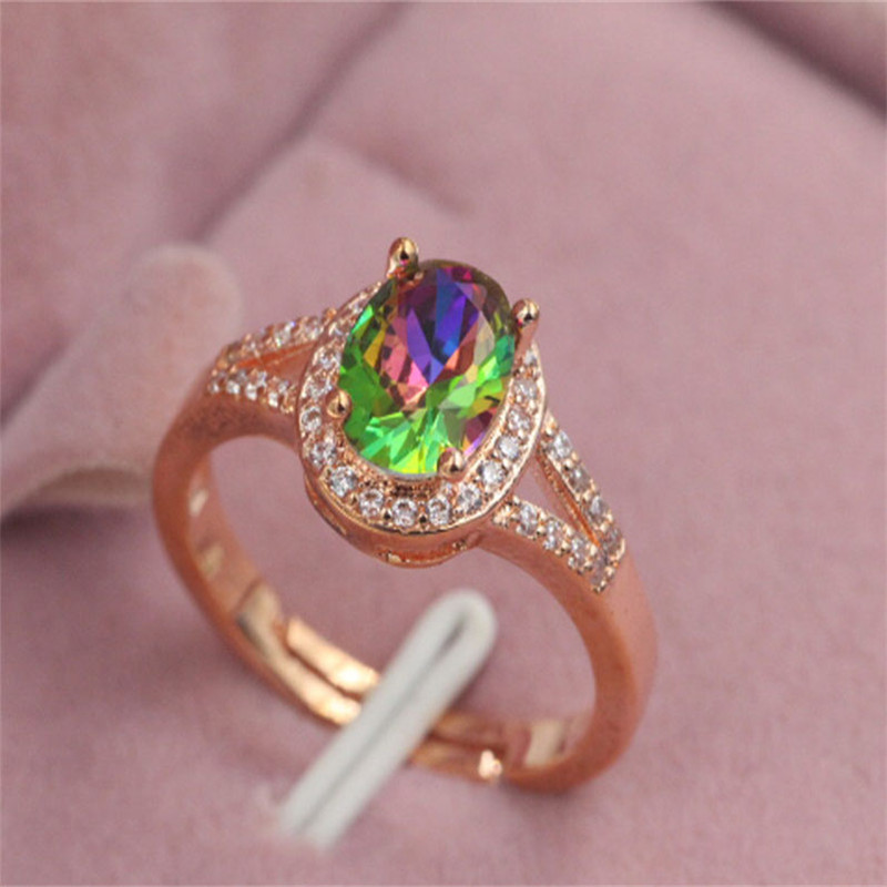 adjustable size Engagement Wedding Rings Cubic Zirconia Rose CZ Stone Ring Jewelry Gift For ...