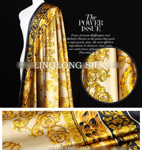 Image 2 - PRINTED SILK STRETCH SATIN 108cm width 19momme/Pure Mulberry Silk Tissus For Wedding Dresses Sewing Golden Leopard