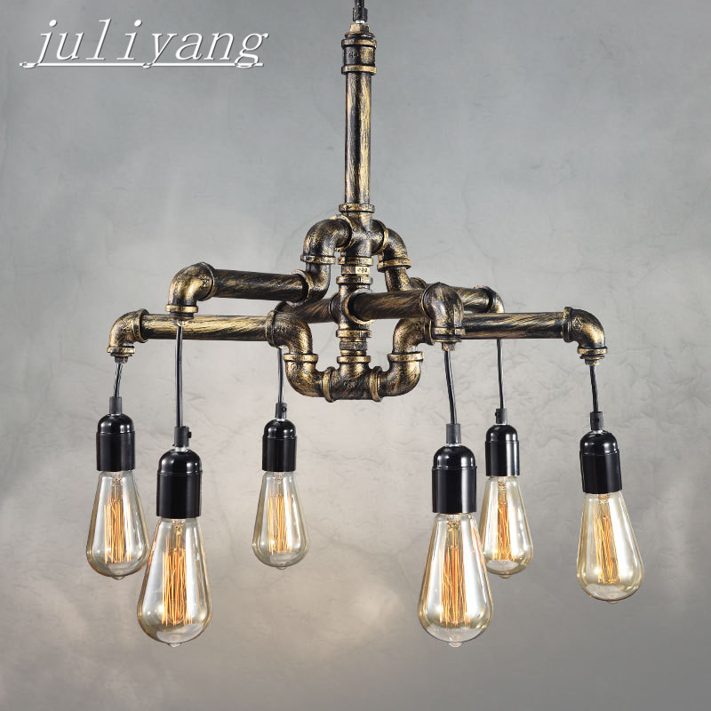 juliyang Industrial water pipe light living room creative hotel American country iron restaurant bar retro wind hanging lamps недорого