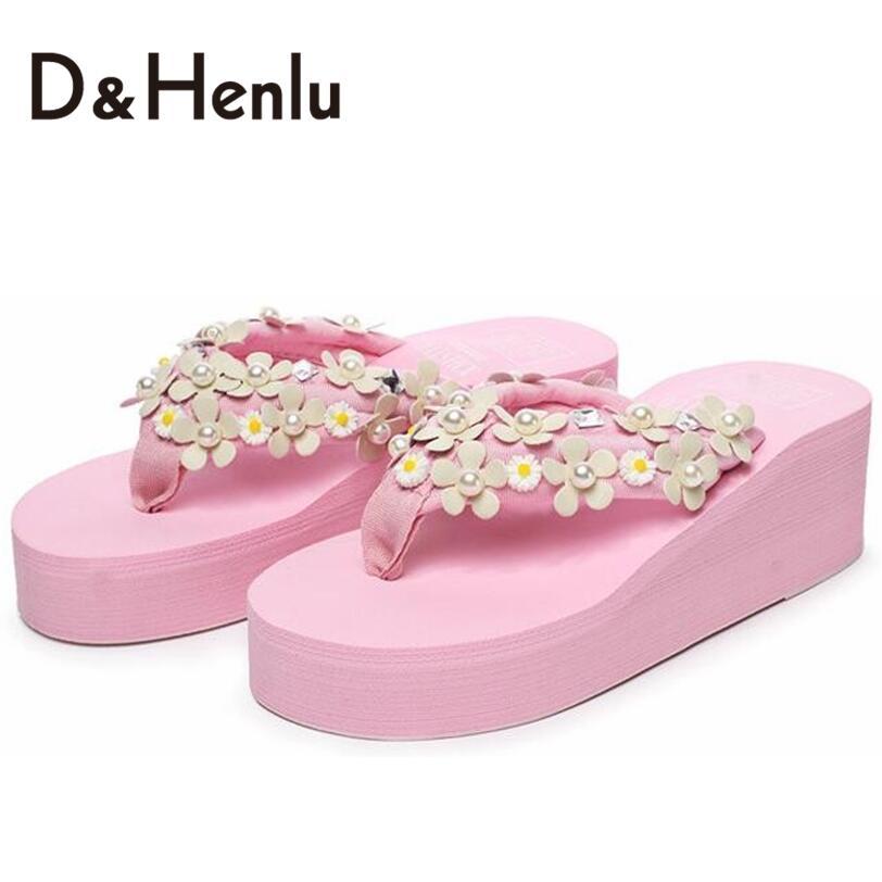 {DH}DIY Flower Summer Woman Trifle Sandals Shoes For Women High Platform Flip Flops Wedges Sandal Girl Sandy Beach Shoes Woman