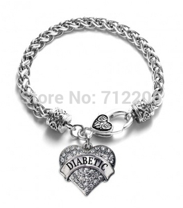 Image 1 - Wheat Link Chain with heart DIABETIC Bracelet