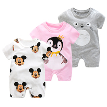 Summer Short Sleeve Rompers Baby Climbing Clothes Pure Cotton Thin Jumpsuit Newborn Baby Boys Girls Cartoon Clothes Pajama Roupa cheap O-Neck Covered Button Unisex Fits true to size take your normal size