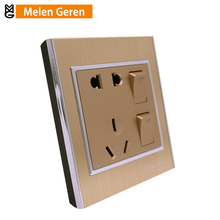 Multifunction Power Wall Socket Outlet Panel Luxury Brushed Aluminum Alloy 5-Pins 2 Push Button Electric Sockets 10A 86 Type