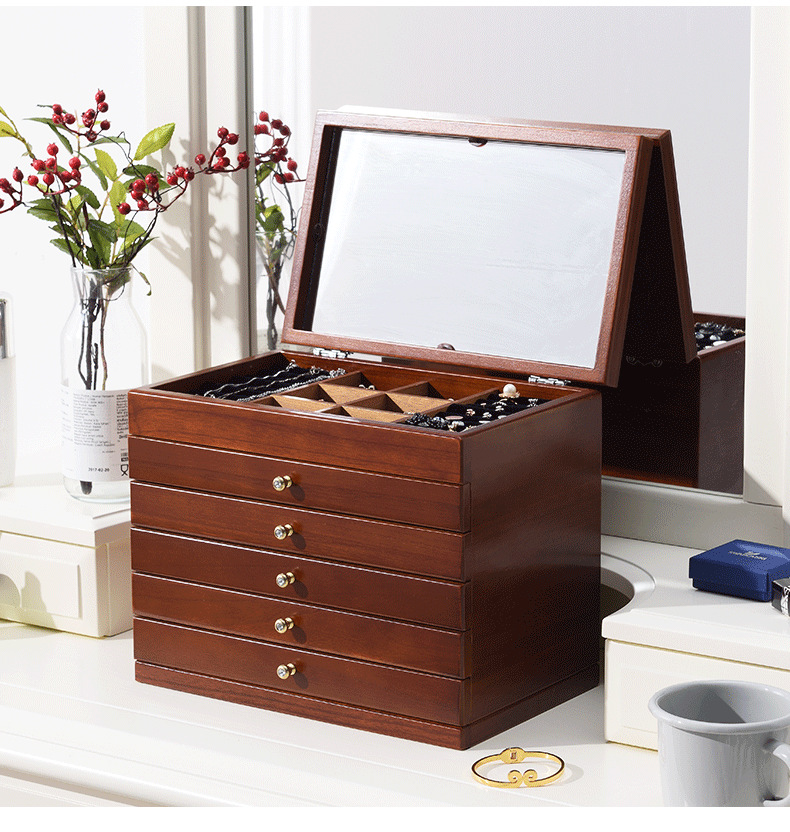 Makeup organizer box Creativity Vintage Wood Home decor Storage box With a mirror Jewel case dressing case Cosmetic organizerMakeup organizer box Creativity Vintage Wood Home decor Storage box With a mirror Jewel case dressing case Cosmetic organizer