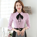 Women Long Sleeve Tie Blouses Office Slim Female Formal Autumn Wear Casual Turn-down Collar Bow Shirt Lady Tops Pink White Blue