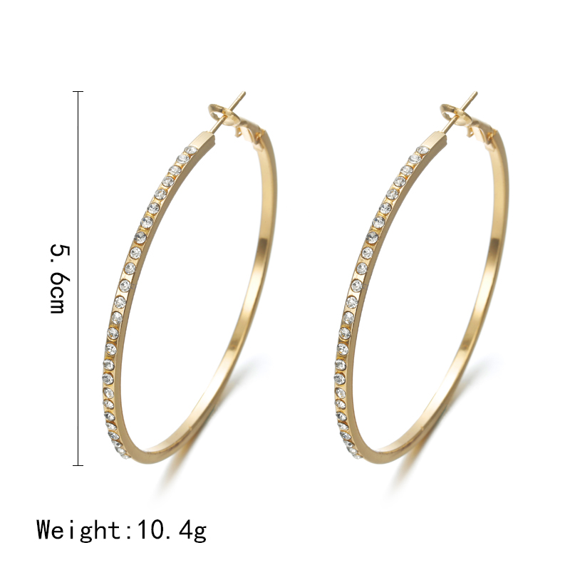HTB1Y.6xXErrK1RkSne1q6ArVVXal - 2018 Fashion Hoop Earrings With Rhinestone Circle Earrings Simple Earrings Big Circle Gold Color Loop Earrings For Women