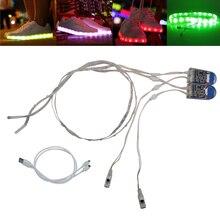 led lighting Strip 1Pair 0.6MX2 RGB SMD3528 Waterproof flexible fita de led luces USB strip glowing colorful lighting shoe led