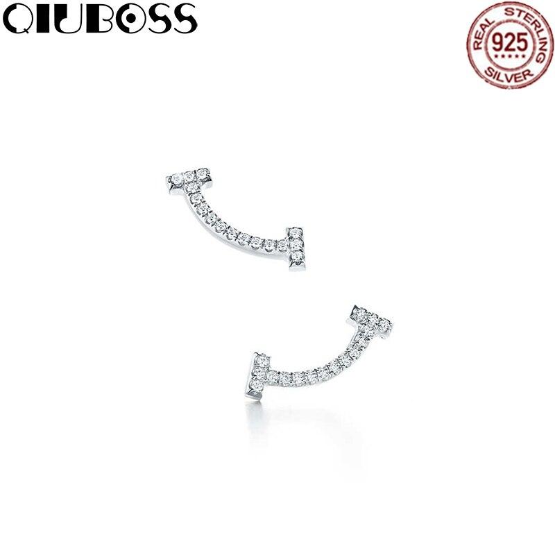 QIUBOSS TIFF 925 пробы Серебряные ювелирные изделия моды Смайлик Серьги модные женские элегантные Смайлик Серьги DIY подарок