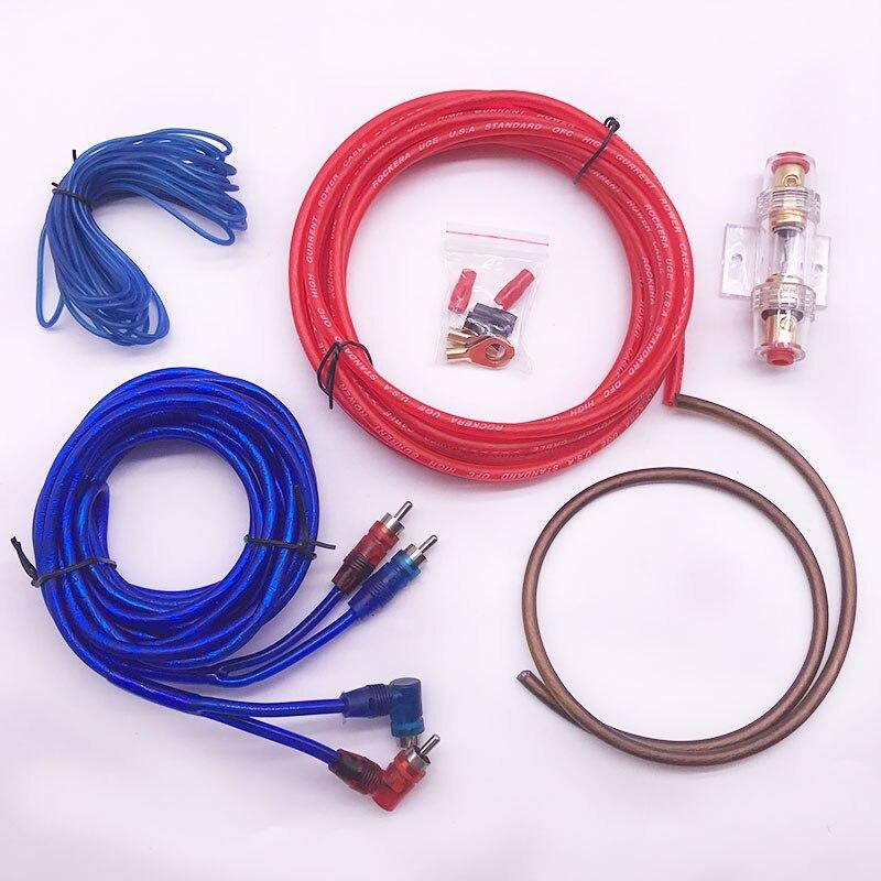 Alto-falantes de áudio do carro kits de fiação cabo amplificador subwoofer alto-falante instalação fios kit 10ga cabo alimentação 60 amp fusível titular