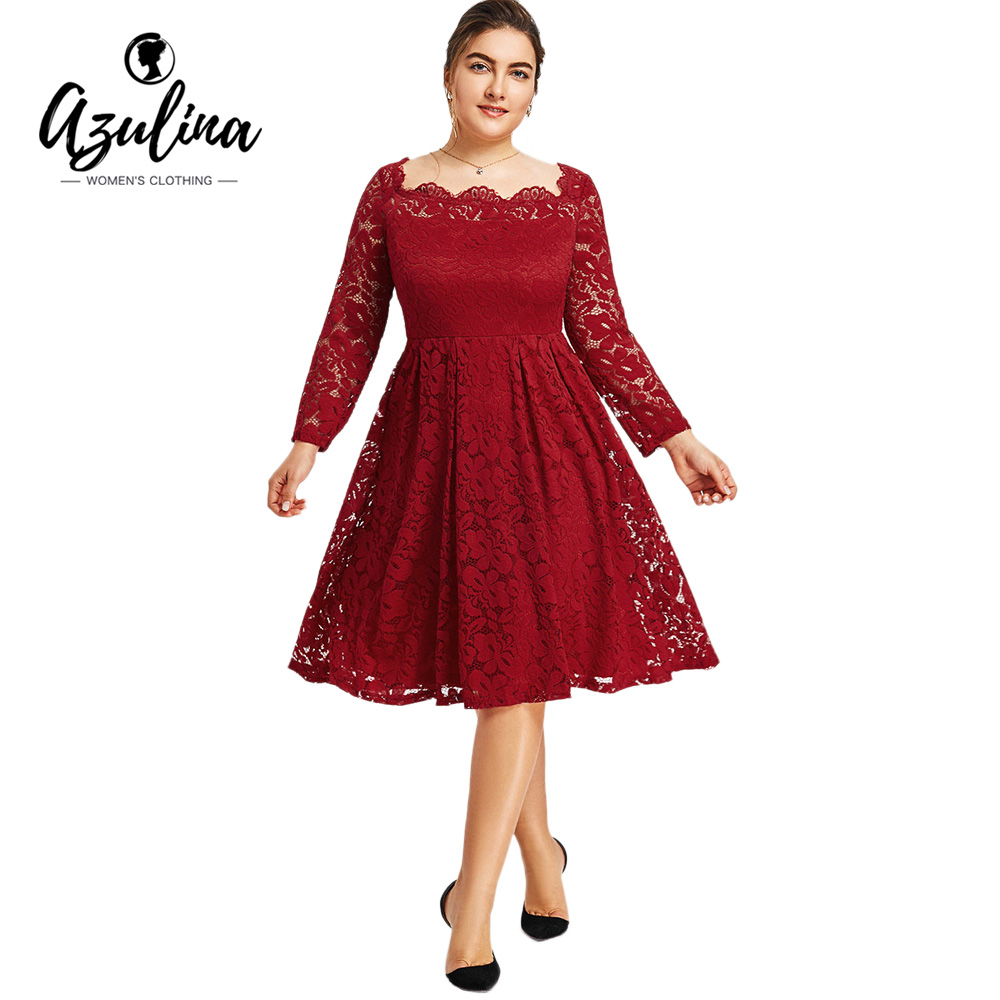 AZULINA Vestidos De Festa Plus Größe Kleid Frauen Frühling Langarm ...