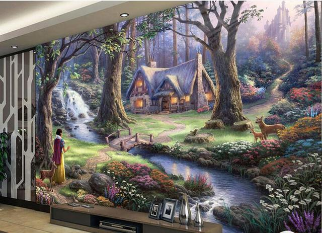 Custom 3d Mural Wallpaper Fairy Landscape Oil Painting Brick Wall Wallpapers For Living Room