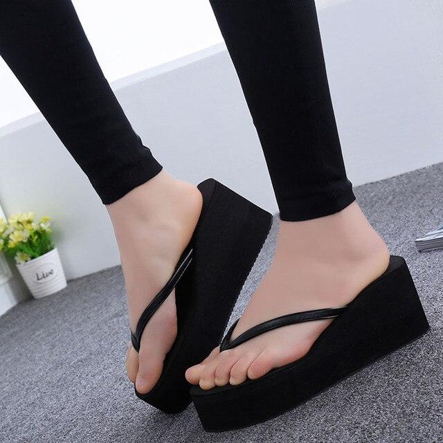 e22e4d267d 2017 Summer New Fashion Women Wedge Platform Thong Flip Flops Sandals  Casual Slippers Beach Lovers Shoes Outdoor Sandals