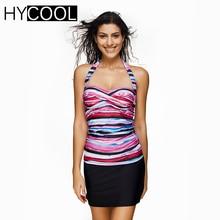 HYCOOL Two Piece Bikini 2017 Plus Size 3XL Swimwear Skirt Striped Print Female Swimsuit Women Tankini Set Bathing Swim Suit 608