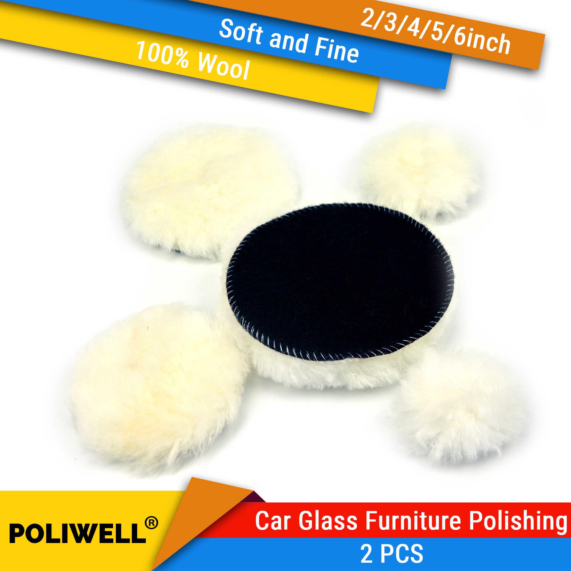 100% poduszki wełny 2 3 4 5 6 Cal 2 sztuk woskowanie polerowanie polerowanie Pad koła samochodu fotel spa farba do malowania polerka Pad hak i pętli