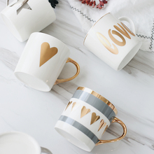 Coffee Milk Cups Love Mugs Gold Painting Porcelain Office Water Mug Para Cafe Couples Mug Ceramic Best Christmas Gifts