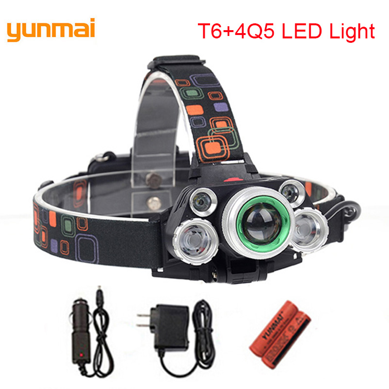 15000 Lumens Strong Light Headlamps Rechargeable Tactical Lantern 18650 Battery XML-T6+4Q5 Led Headlight Lampe Frontale Faro