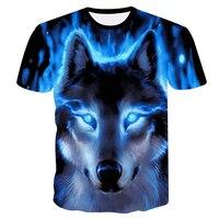 Новинка 2018, крутая Мужская футболка с 3D головой волка, модная повседневная футболка унисекс с забавными животными, летняя уличная быстросох...