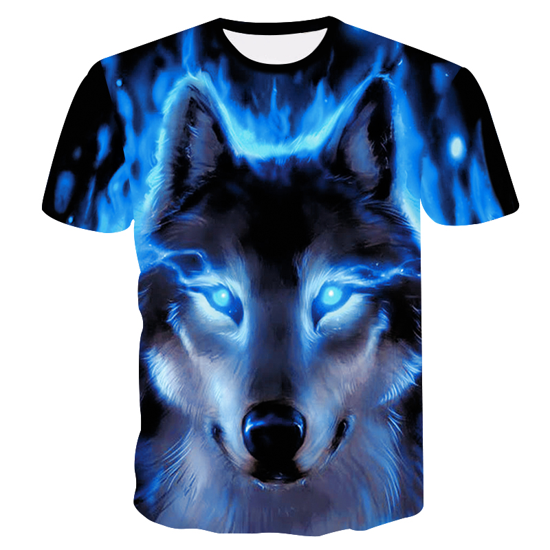 2018 New 3D Wolf Head Cool Men's T-Shirt Funny Animal Fashion Unisex Casual T-shirt Summer Street Quick-drying Fashion T-shirt
