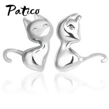 Cute Cartoon 3D Animal 925 Sterling Silver Cat Stud Earrings for Women Girls Brincos Bijoux Piercing Jewelry Gfits(China)